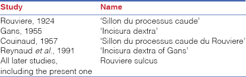 Table 6: The nomenclature of the Rouviere's sulcus
